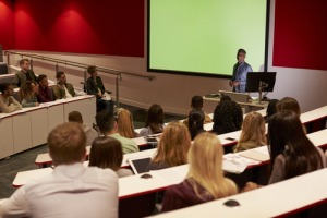 higher education students in a lecture theatre